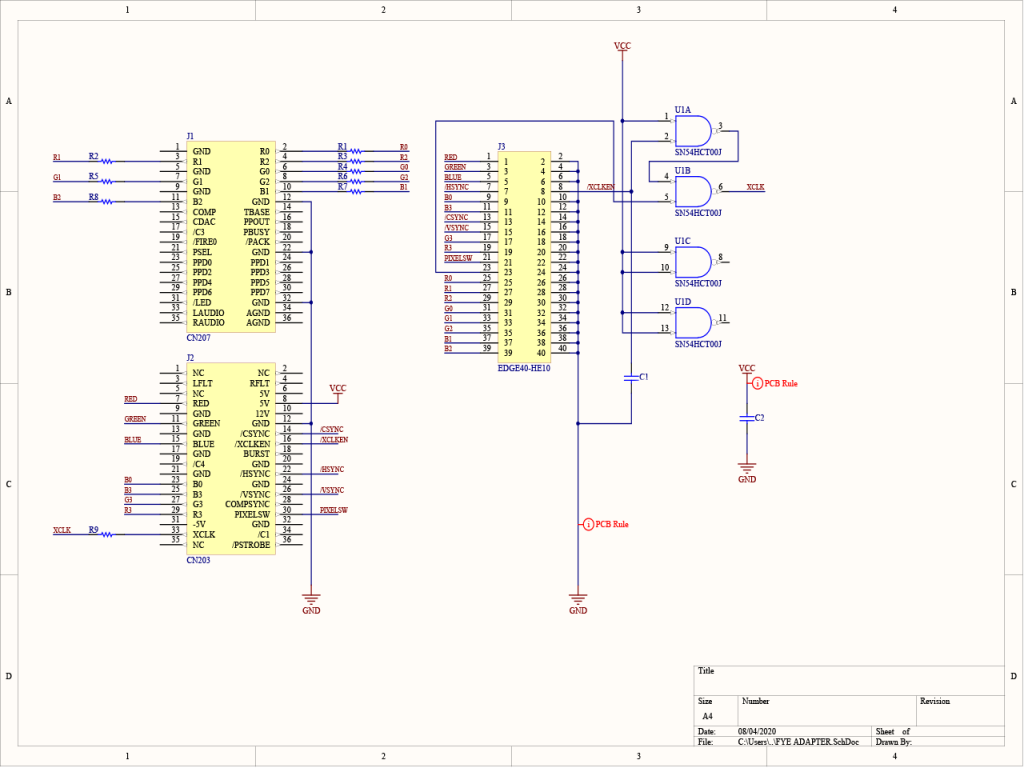Schéma de l'adaptateur FYE de la IV24.