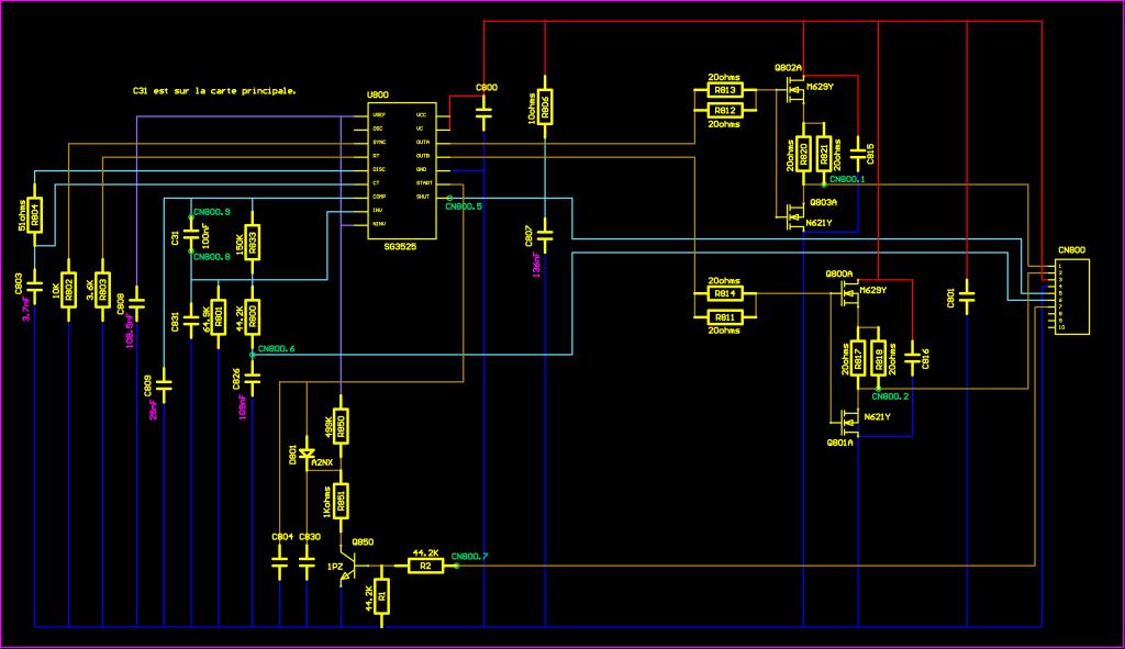 """Schéma du module DCDC03 soudé au connecteur """"CN800"""" de l'onduleur Eaton EX 1000"""
