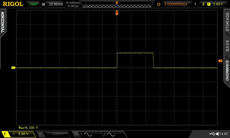 """Chronogramme du signal sur la broche 7 du connecteur """"CN800"""""""